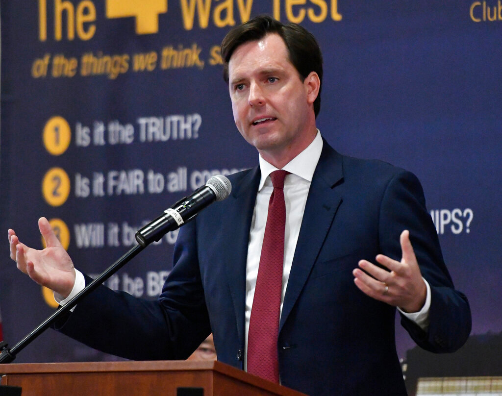 In this April 18, 2019 file photo, Kentucky Democratic candidate for governor and former state auditor Adam Edelen speaks at a Candidates Forum in Louisville, Ky. Democrats competing for the chance to oust Republican Gov. Matt Bevin have turned the incumbent's feuds with some teachers' groups into a frequent attack line against him. With political activism surging among teachers, courting their support has been a priority leading up to the May 21 primary, and Edelen has picked up a key endorsement. (AP Photo/Timothy D. Easley, File)