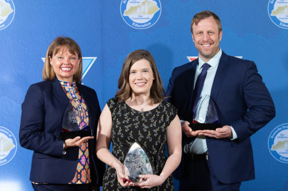 From left: Melanie Coleman, Elementary School Teacher of the Year; Erin Elizabeth Ball, Middle School and overall Teacher of the Year; and Matthew Kaufmann, High School Teacher of the year.  (Photo courtesy Kentucky Department of Education).