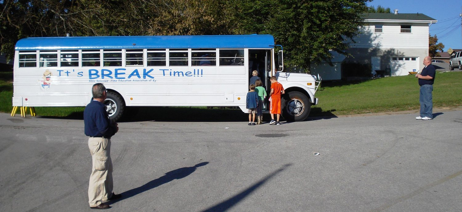 The BREAK bus that doubles as a classroom for elementary age children. Bible lessons are taught inside the bus once a month to public school children whose parents requested it. (Submitted photo)