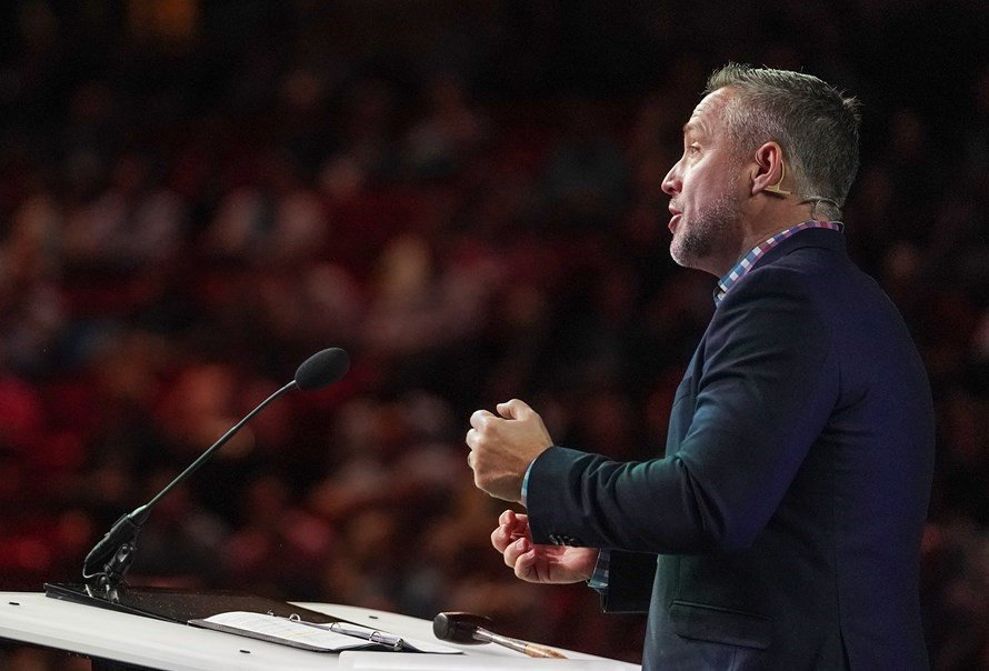 SBC President J.D. Greear said Southern Baptists must be willing to do whatever it takes to reach all people, during his president's address June 11 during the morning session of the two-day SBC annual meeting in Birmingham, Ala. (Photo by Kathleen Murray)