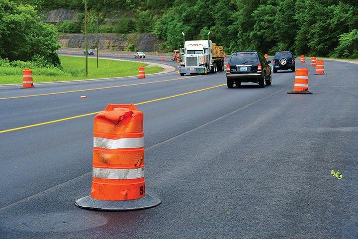 Barrels and cones were displaced on a highway work zone in Pike County on Monday night. (Appalachian News Express photo)