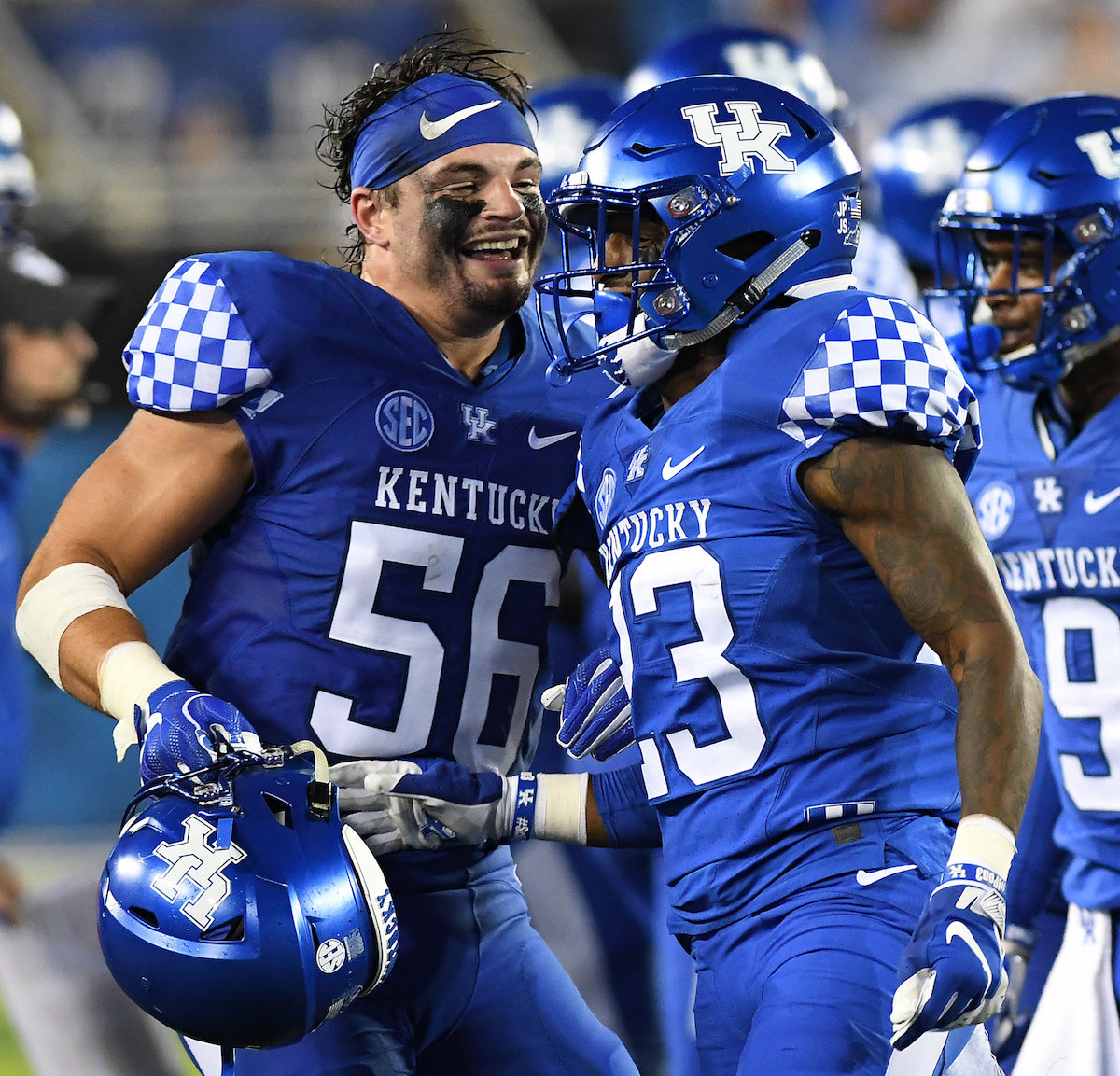 Kash Daniel, left, and his enthusiasm for football has rubbed off on his teammates, including the team's offense. (Kentucky Today/Keith Taylor)