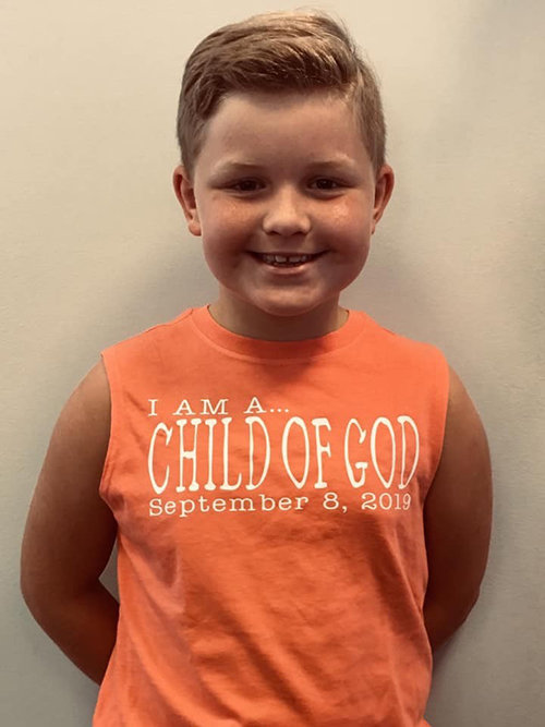 Marshall Short, a new believer, at Cornerstone Community Church near Ashland, Ky., wears his shirt proudly. (Submitted photo)