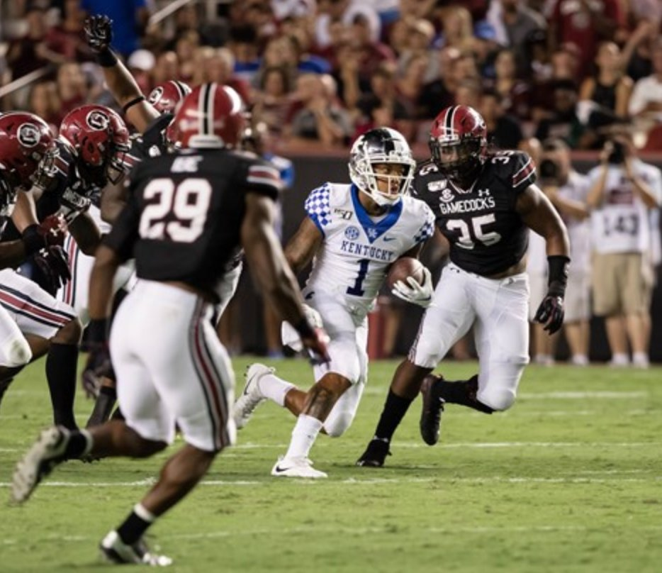 Kentucky's Lynn Bowden rushes up the field in the Wildcats' 24-7 loss at South Carolina Saturday night in Columbia. (UK Athletics Photo)