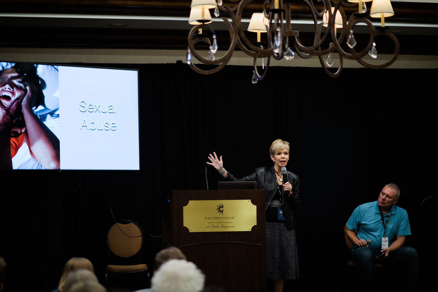 Leslie Vernick speaks as Chris Moles looks on during a breakout session on domestic violence at the 2019 National Conference of the Ethics and Religious Liberty Commission of the Southern Baptist Convention. The Caring Well conference ran from October 3-5 in Grapevine, Tx. (Karen Race Photography 2019)