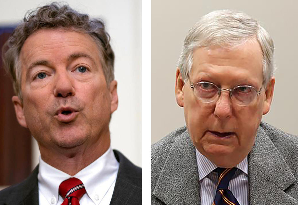 U.S. Senators Rand Paul, left, and Mitch McConnell were in Frankfort on Monday. (Kentucky Today file photos)