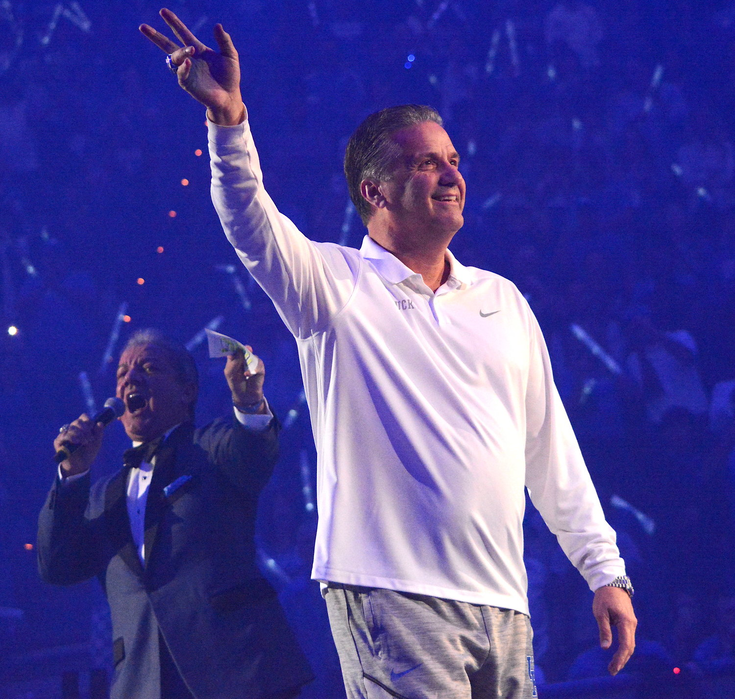 Kentucky coach John Calipari waves to the crown as he is introduced by legendary announcer Bruce Buffer during Big Blue Madness Friday night at Rupp Arena. (Kentucky Today/Keith Taylor)