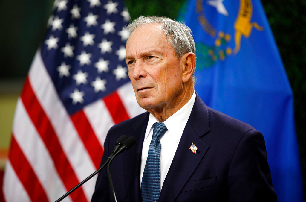In this Feb. 26, 2019, file photo, former New York City Mayor Michael Bloomberg speaks at a news conference at a gun control advocacy event in Las Vegas. Bloomberg has opened door to a potential presidential run, saying the Democratic field 'not well positioned' to defeat Trump. (AP Photo/John Locher, File)
