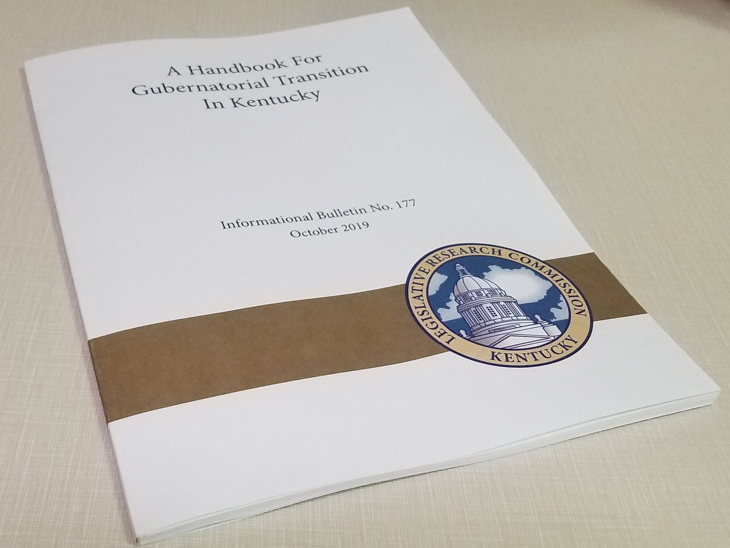 Governor-Elect Andy Beshear's transition team is looking at the LRC's transition handbook. (Kentucky Today/Tom Latek)