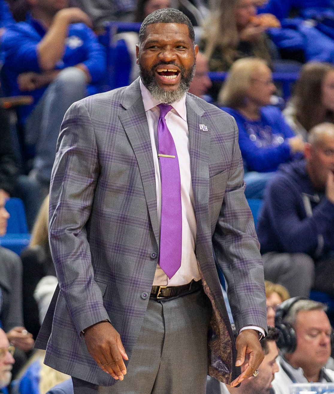 Former Kentucky standout Walter McCarty led his Evansville Purple Aces to a 67-64 win over No. 1 Kentucky Tuesday night at Rupp Arena. (Kentucky Today/Tammie Brown)