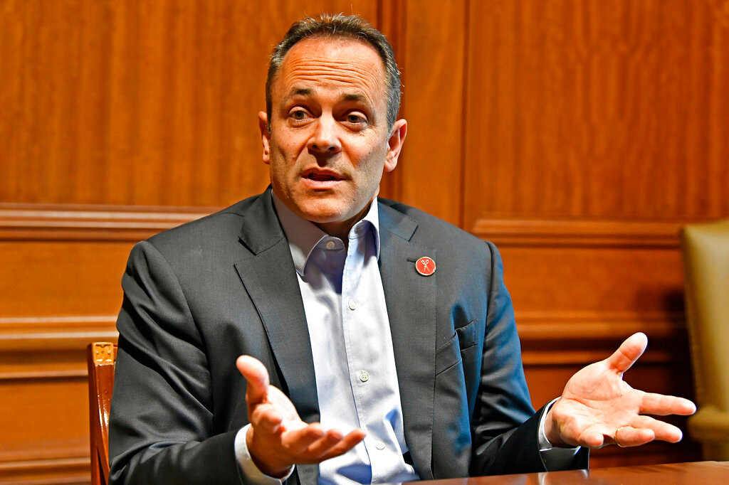 Former Gov. Matt Bevin defended his recent pardons and commutations with a series of tweets on Friday night.. (AP Photo/Timothy D. Easley)