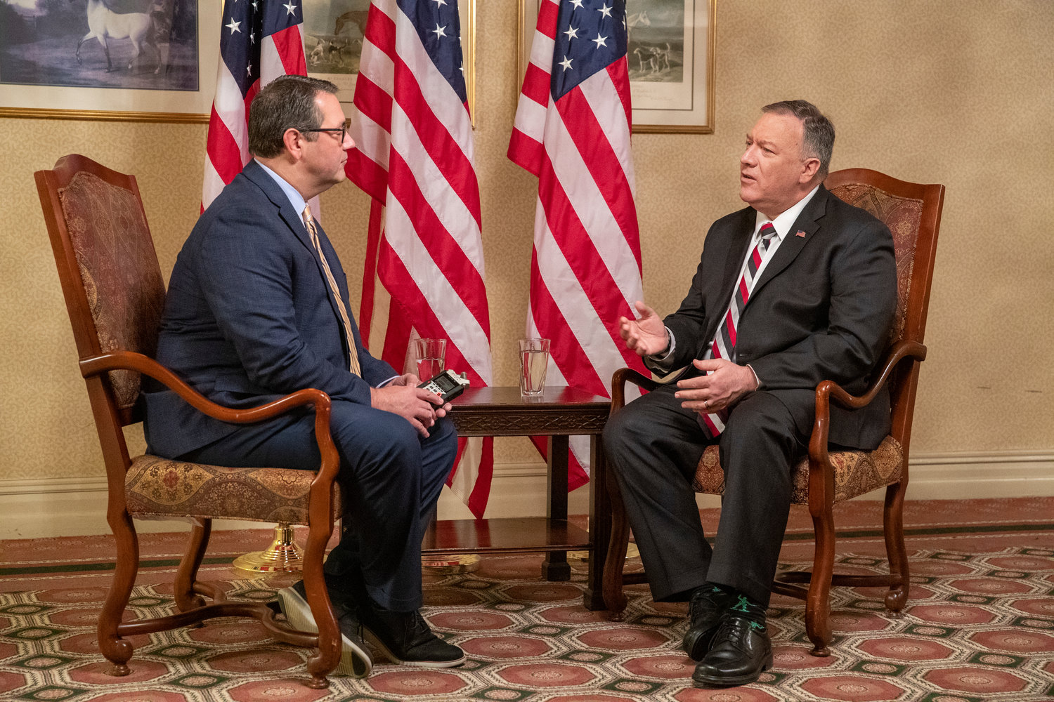 Kentucky Today Editor Brandon Porter, left, interviews U.S. Secretary of State Mike Pompeo on Monday. (Kentucky Today/Robin Cornetet)
