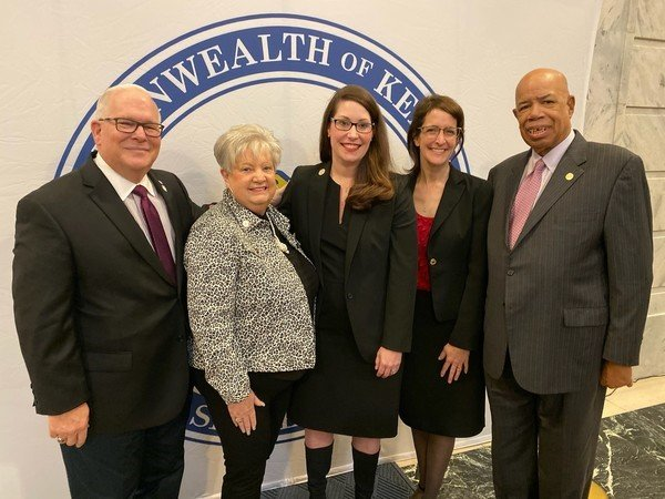 The NASS Medallion Award recipients from the Secretary of State office are from left: Retired Brigadier Gen. Benjamin F. Adams, III, Mary Sue Helm, Secretary of State Alison Lundergan Grimes, Tamara Sandberg and Raoul Cunningham. (Kentucky Today/Tom Latek)