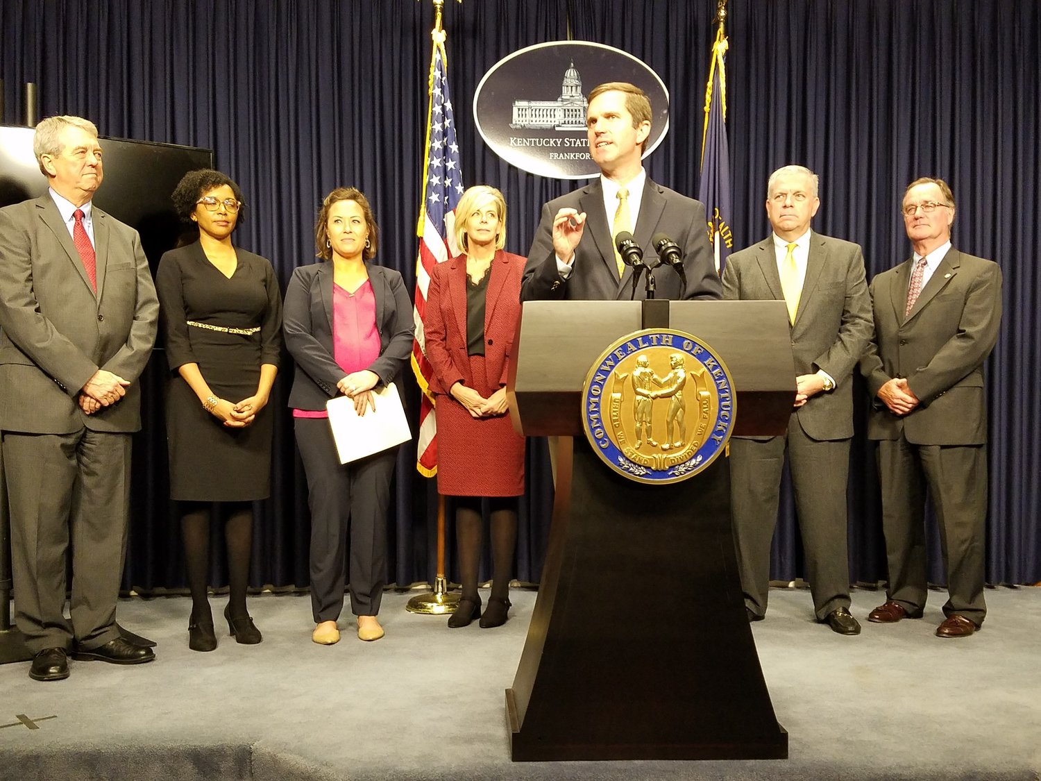 Gov.-elect Andy Beshear made several high-level appointments on Friday. From left, Dorset Ridley, director of Legislative Services; La Tasha Buckner, who will add chief of staff to her other position as general counsel; Lt. Gov.-elect Jacqueline Coleman; Mike Berry, Tourism, Arts and Heritage Cabinet Secretary; and Tom Miller, Revenue Commissioner.  Not pictured are John Hicks, State Budget Director, and Susan Rieber, Lt. Gov-elect Coleman's Chief of Staff. (Kentucky Today/Tom Latek)
