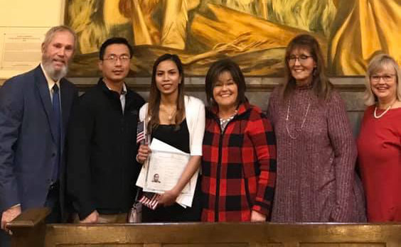 Several ESL teachers from Unity Baptist attended the naturalization ceremony for one of the students in the English as a Second Language program. (Submitted photo)