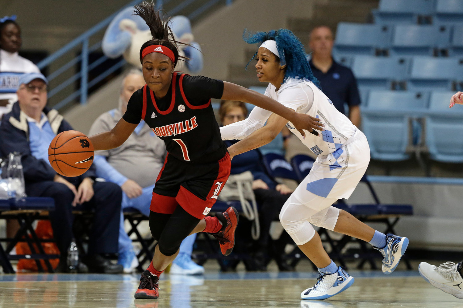 Louisville guard Dana Evans (1) dribbles while North Carolina guard Madinah Muhammad defends during the second half of an NCAA college basketball game in Chapel Hill, N.C., Sunday, Jan. 19, 2020. (AP Photo/Gerry Broome)