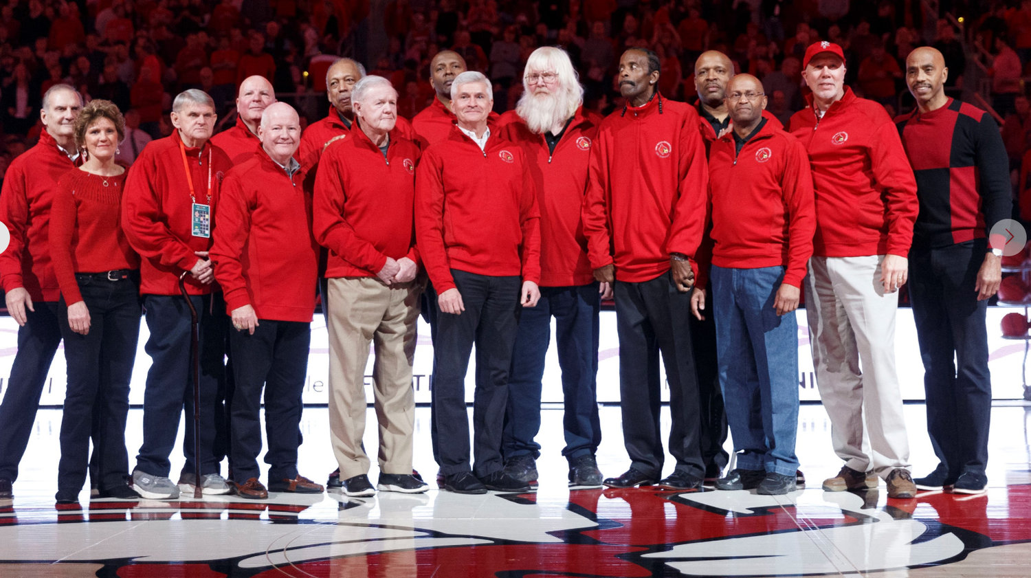 The 1980 Louisville basketball national champions were honored Saturday in the Yum! Center. A film about the season is coming out soon. (Louisville Athletics photo)