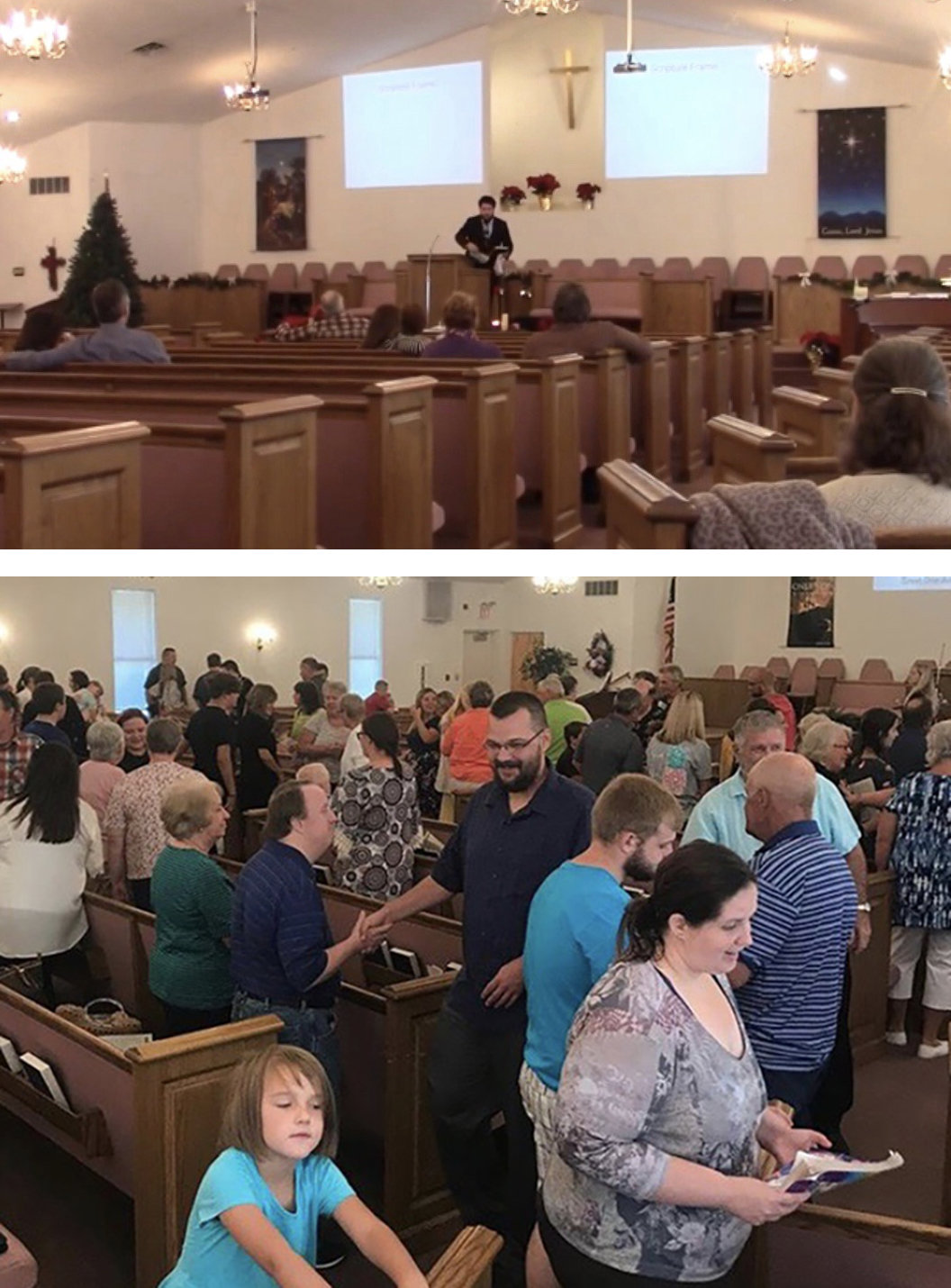 The above photo shows the congregation when Abram Crozier became pastor at Trinity Southern Baptist Church in Falmouth, Ky. Below is a church alive and growing a year later. (Submitted photos)