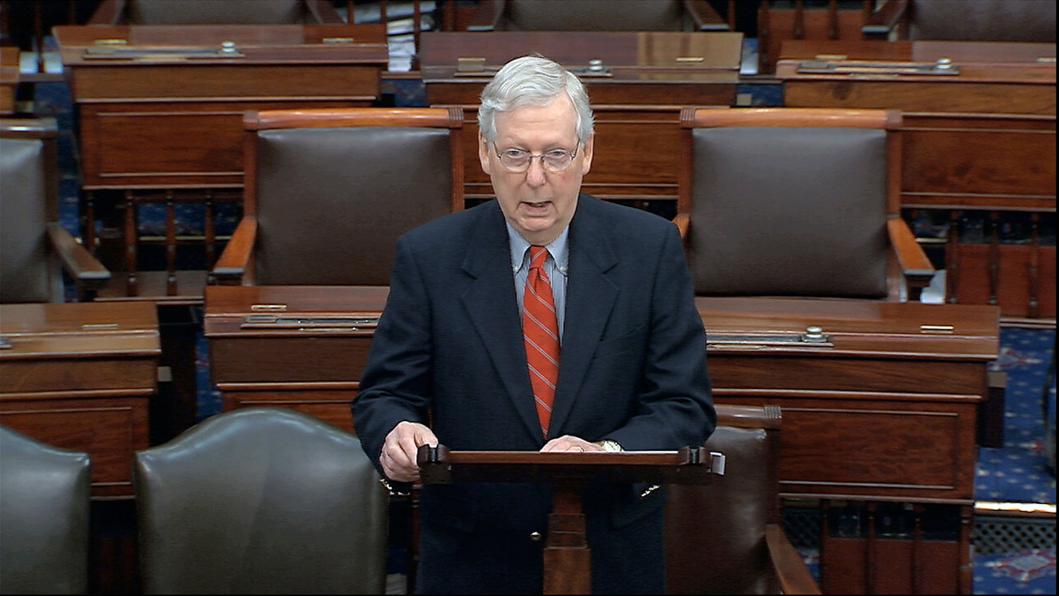 Senate Majority Leader Mitch McConnell, R-Ky., says churches, Christian schools and other nonprofit organizations will received access to federally guaranteed loans through the $2.2 trillion CARES Act. (Senate Television via AP)