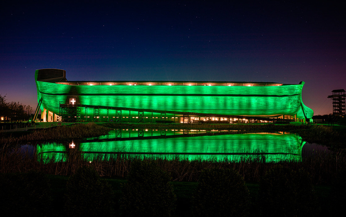 The Ark Encounter in Williamstown decided to light it up green Tuesday night in honor of the coronavirus vitims. (Ark Encounter Facebook page)