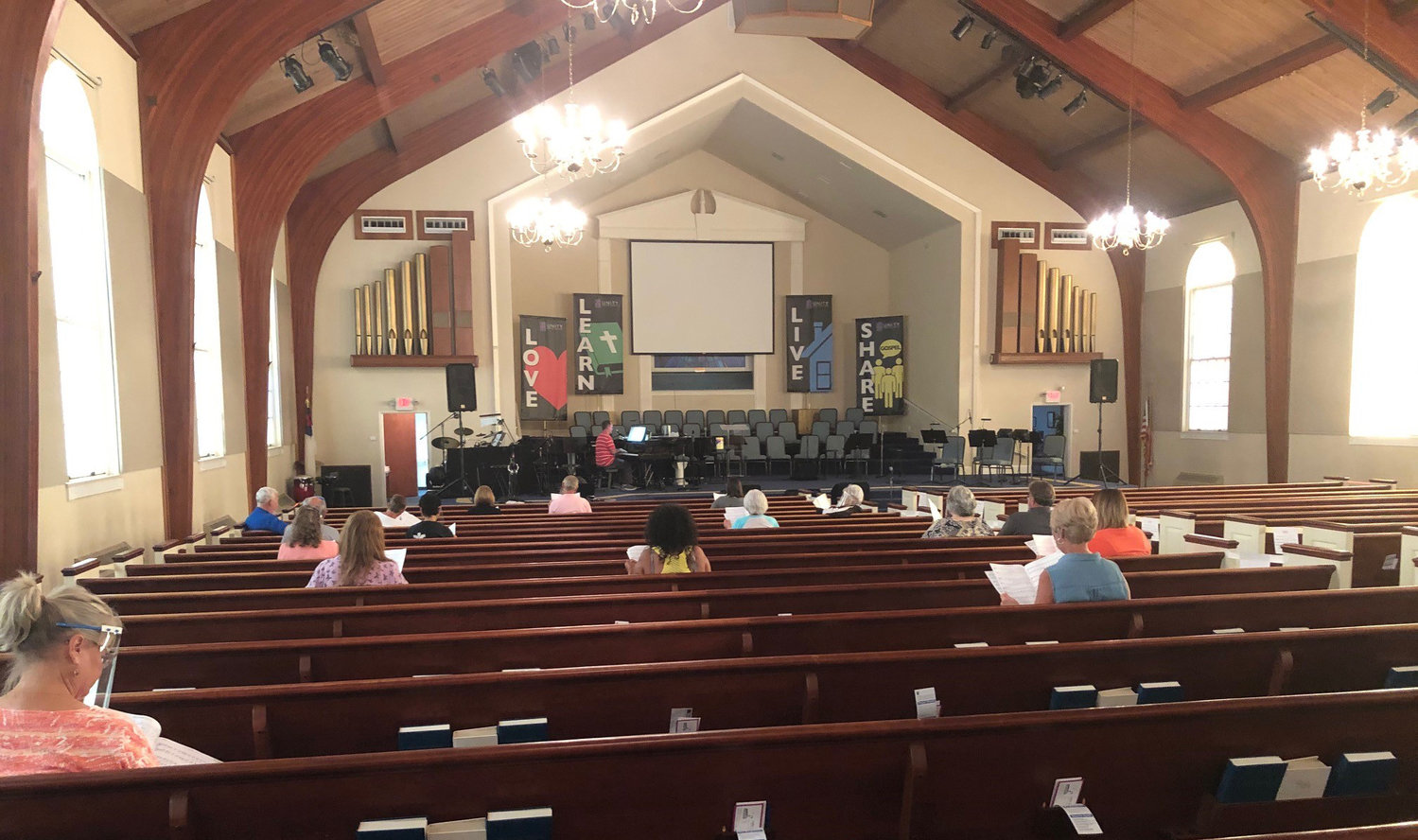 Social distancing was observed during recent choir rehearsals at Unity Baptist Church in Ashland.