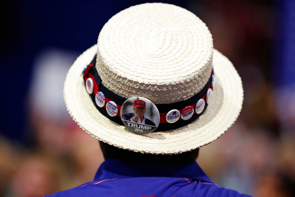 A delegate shows off support for Republican Presidential Candidate Donald Trump during the third day session of the Republican National Convention in Cleveland, Wednesday, July 20, 2016. (AP Photo/Carolyn Kaster)