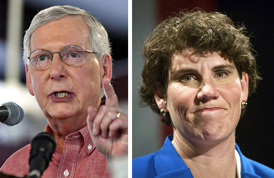 U.S. Kentucky Senate candidates Mitch McConnell and Amy McGrath. (AP photos)