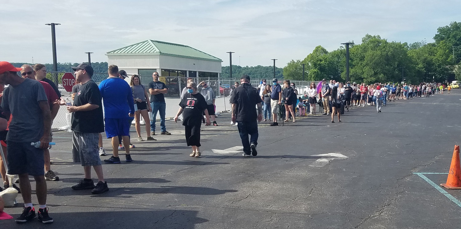 Hundreds were waiting in this line back in June to check on unemployment benefits. (Kentucky Today/Tom Latek)