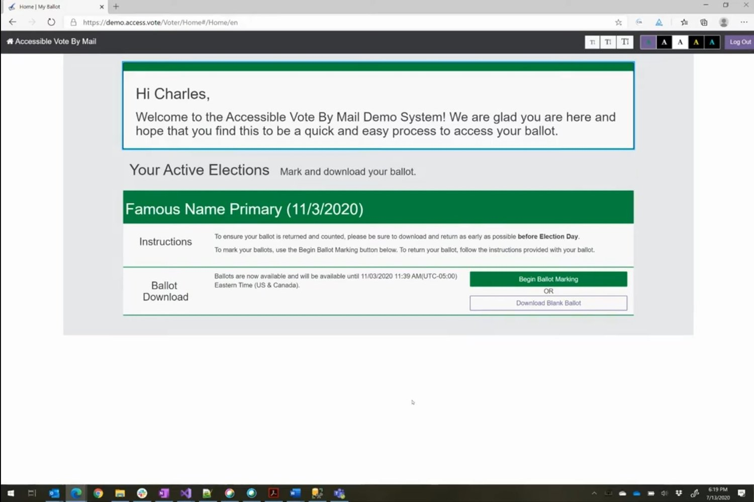 Screenshot of the accessible Vote-By-Mail system from VotingWorks.