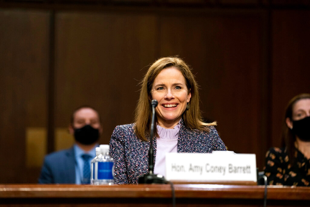 NYTACB Judge Amy Coney Barrett, President Donald Trump's Nominee for Supreme Court, participates in the third day of her confirmation hearing with the Senate Judiciary Committee in Hart Senate Office Building in Washington DC, on October 14th, 2020. .