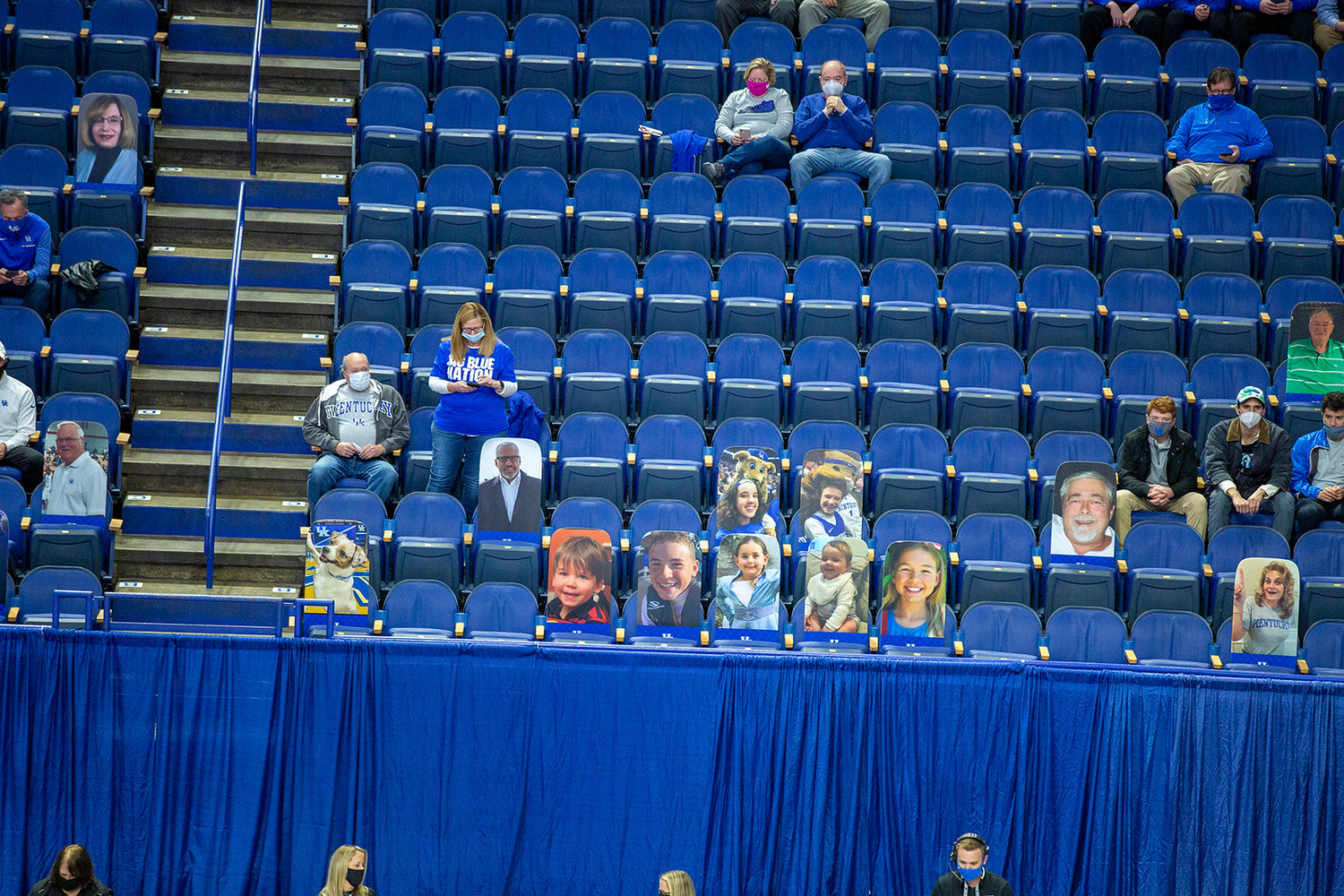 A socially distanced crowd with some cardboard cutouts on Sunday, Nov. 29, 2020, in Lexington. Ky. (Kentucky Today/Tammie Brown)