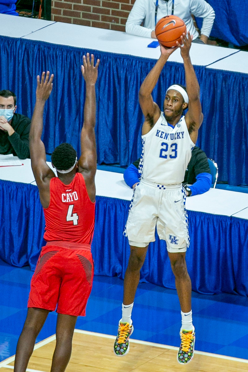 Kentucky's Isaiah Jackson shoots a jumper on Sunday, Nov. 29, 2020, in Lexington. Ky. (Kentucky Today/Tammie Brown)