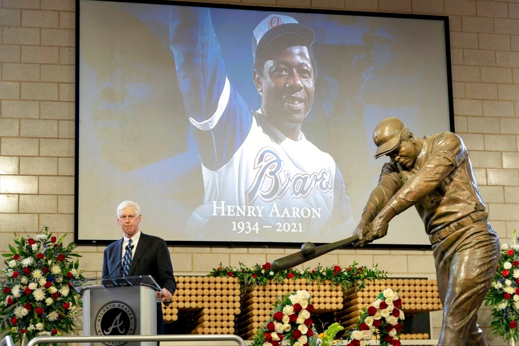 "Atlanta Braves Chairman Terry McGuirk speaks during ""A Celebration of Henry Louis Aaron,"" a memorial service celebrating the life and enduring legacy of the late Hall of Famer and American icon, on Tuesday, Jan. 26, 2021, at Truist Park in Atlanta. (Kevin D. Liles/Atlanta Braves via AP Pool)"