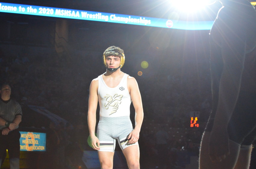 Lebanon senior Trevor Christian gets introduced before the start of his Class 3 160-pound title match on Saturday night at Mizzou Arena. Christian defeated Trevor Wilson of Hannibal, 5-4.