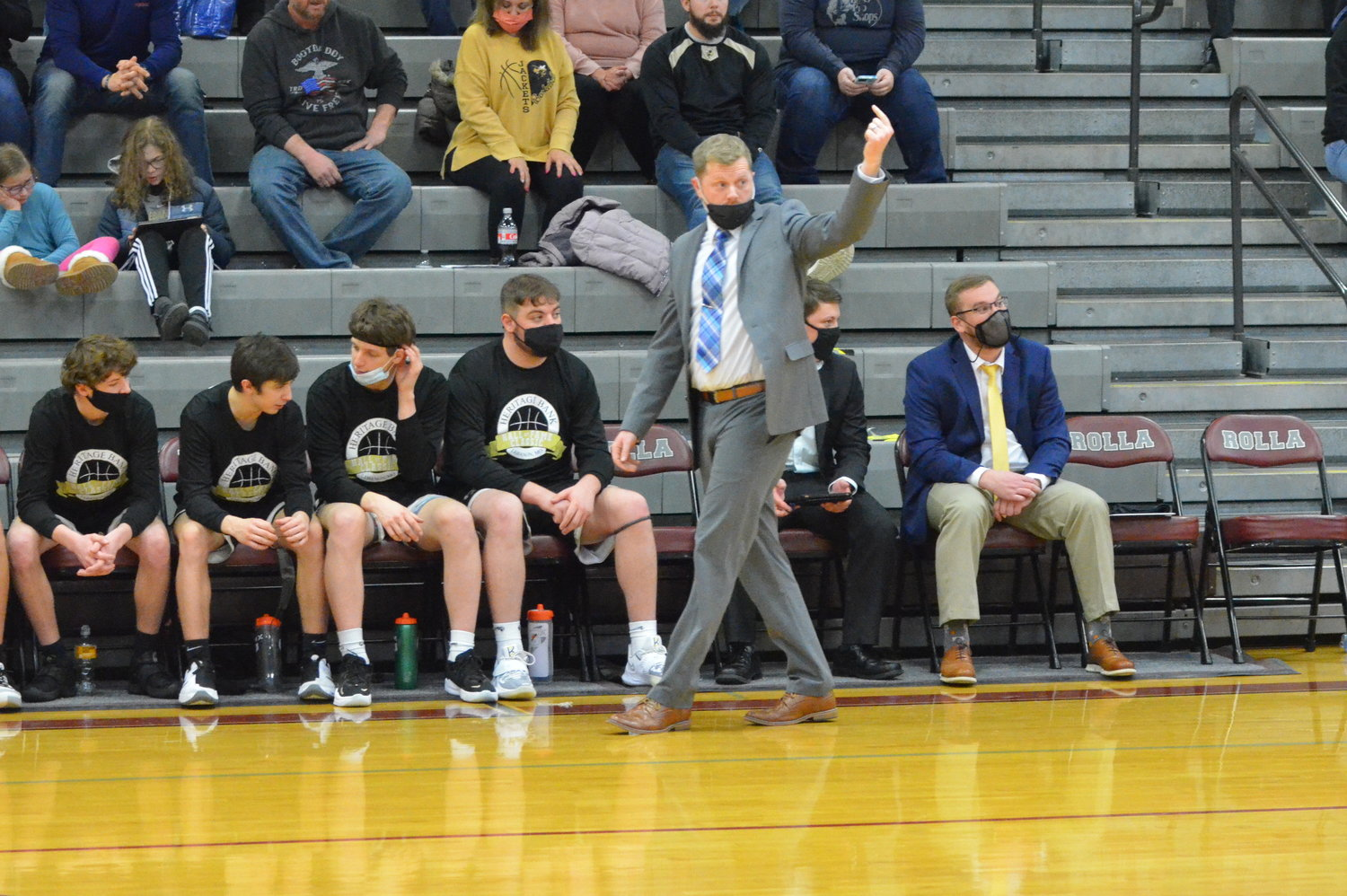 Lebanon basketball coach Zach Miller coaches a varsity high school basketball game against the Rolla Bulldogs on Friday night at Rolla High School. The 'Jackets lost the game, 57-25.