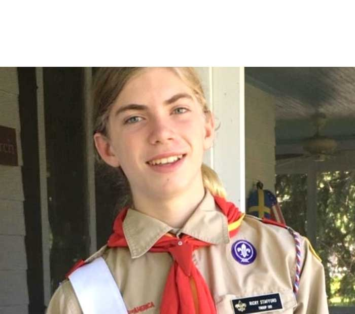 Pictured is aspiring Eagle Scout Ricky Stafford.