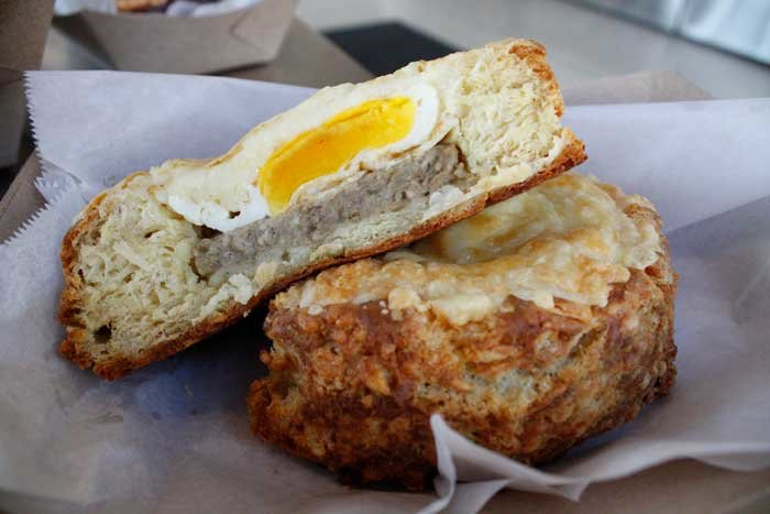 The Egg Breakfast Bomb is an homage to egg-in-toast, just upgraded a bit. You'll get a homemade biscuit with sausage, egg and melted cheese.
