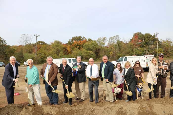 Islip Town supervisor Angie Carpenter, along with other Islip Town officials and New York State Sen. Phil Boyle, break ground on the new town-run animal shelter, which is expected to be completed sometime next year.