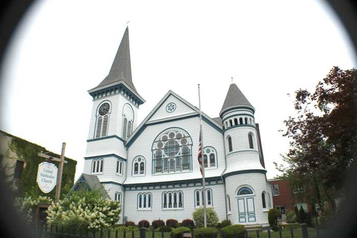 The United Methodist Church of Bay Shore has been awarded grants to help shore up this beautiful sanctuary, a mix of Romanesque Revival and Queen-Anne styles. Its original Gothic revival sanctuary was moved to the rear.