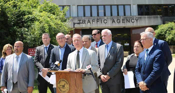 Legis. Cilmi and members of the GOP caucus spoke out against Suffolk County's red light camera program during a press conference on Tuesday.