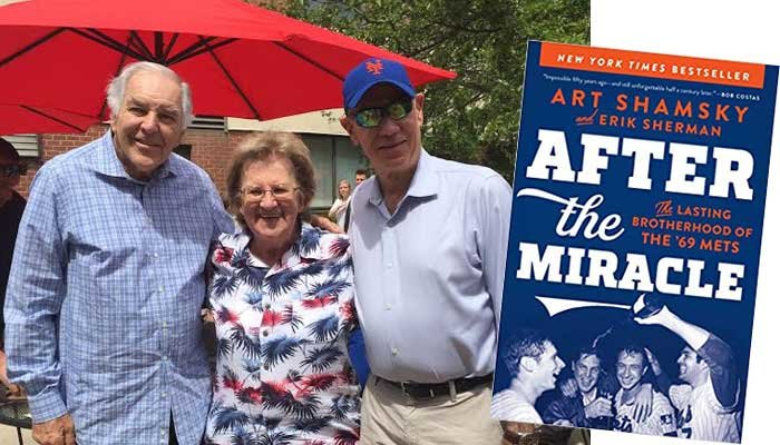 Ed Kranepool (left) and Art Shamsky (right) with Linda Sikora (center) during their recent visit to Momentum at South Bay, a rehab and nursing facility in East Islip, this Father's Day. Inset: Art Shamsky's New York Times bestseller, 'After the Miracle:  The Lasting Brotherhood of the '69 Mets,' which he co-authored with sportswriter Erik Sherman.