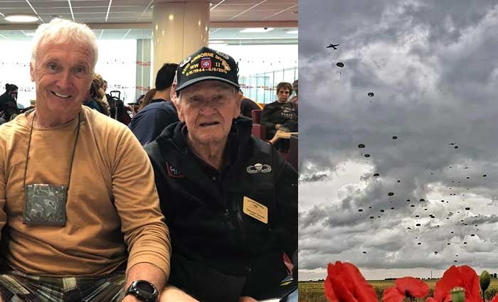 "Tim Malloy (left) alongside George Cross (right), who parachuted into Normandy with the 505th PIR and returned for the first time in 75 years. At right: Paratroopers in the skies over Normandy. Malloy said he can only describe it as ""epic."""