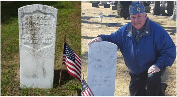 The old headstone, left, and Bill Lindner with the new headstone he arranged for the veteran's grave.