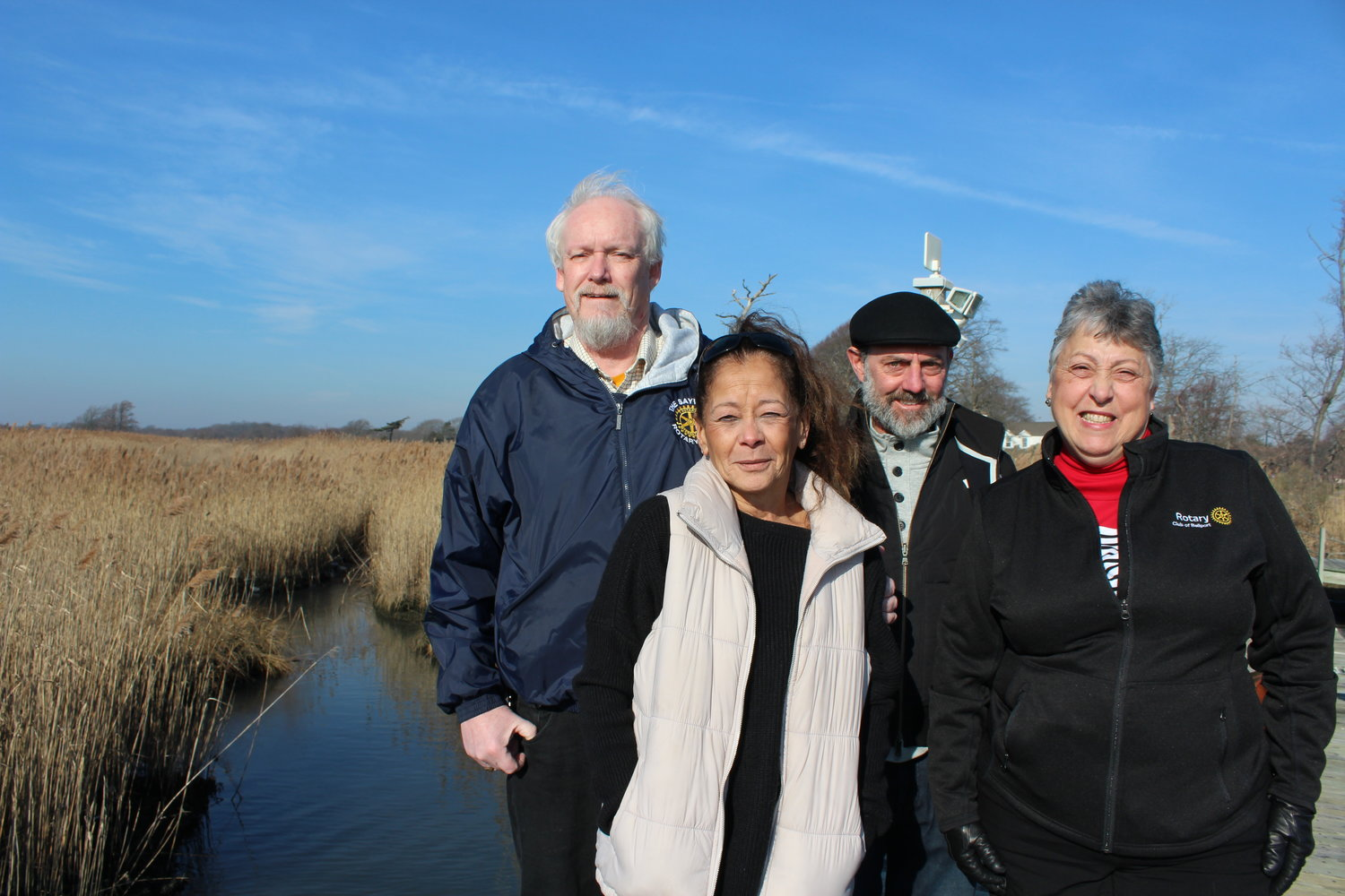 Rotary Club presidents Bob Draffin (Sayville), Liz Mayott (Islip), Brian McAuliff (Patchogue) and Lorraine Kuehn (incoming Bellport) are teaming up to work on environmental projects this year with club resources.