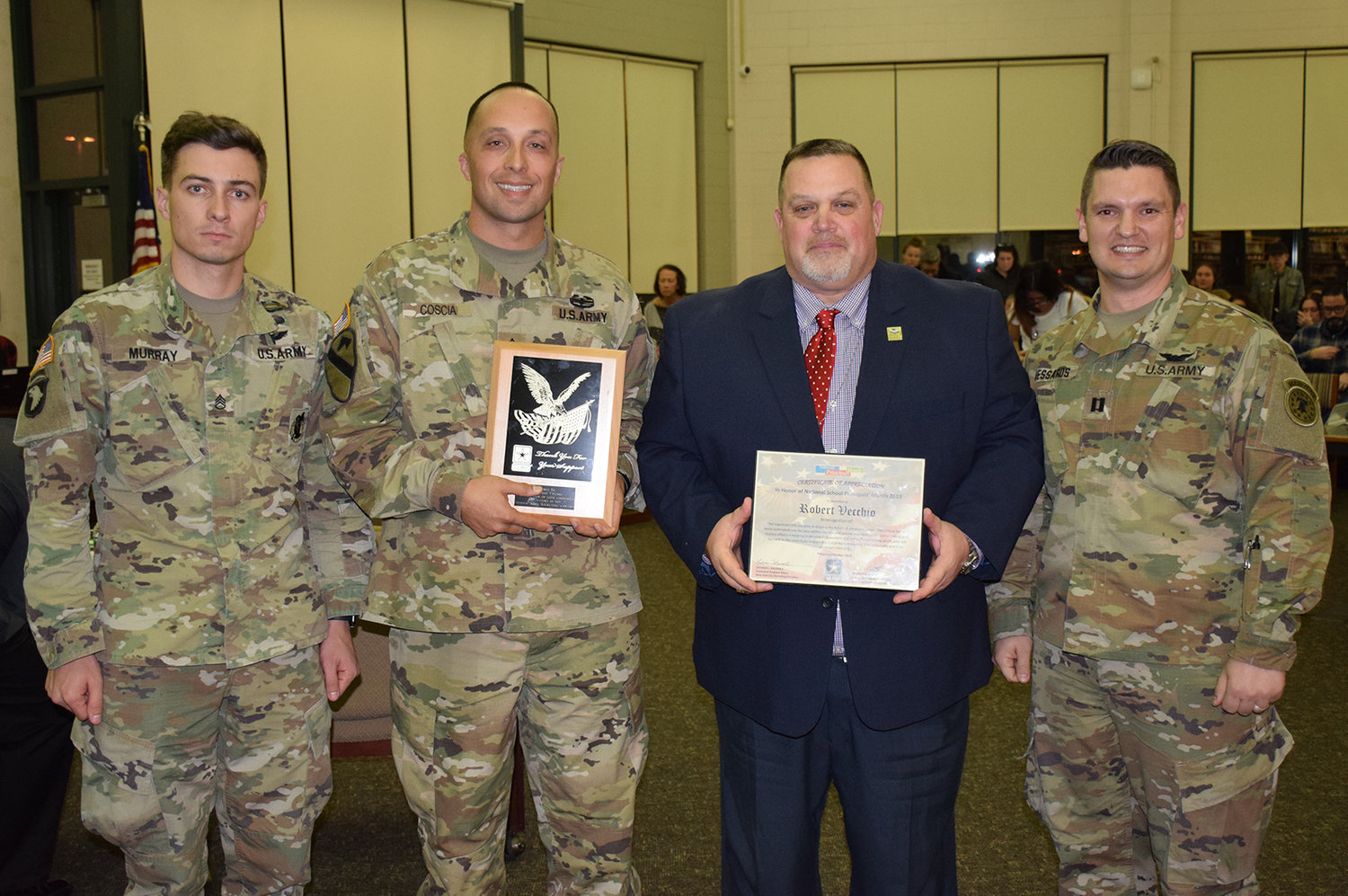Pictured with WFSD BOE President Robert Vecchio (second from right) are (l-r) Staff Sergeant Timothy Murray, Sergeant First Class Joseph A. Coscia and Captain Christopher Messaros.