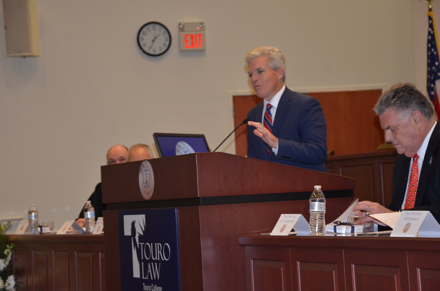 Steve Bellone speaks at Angie Carpenter's swearing in last Friday.