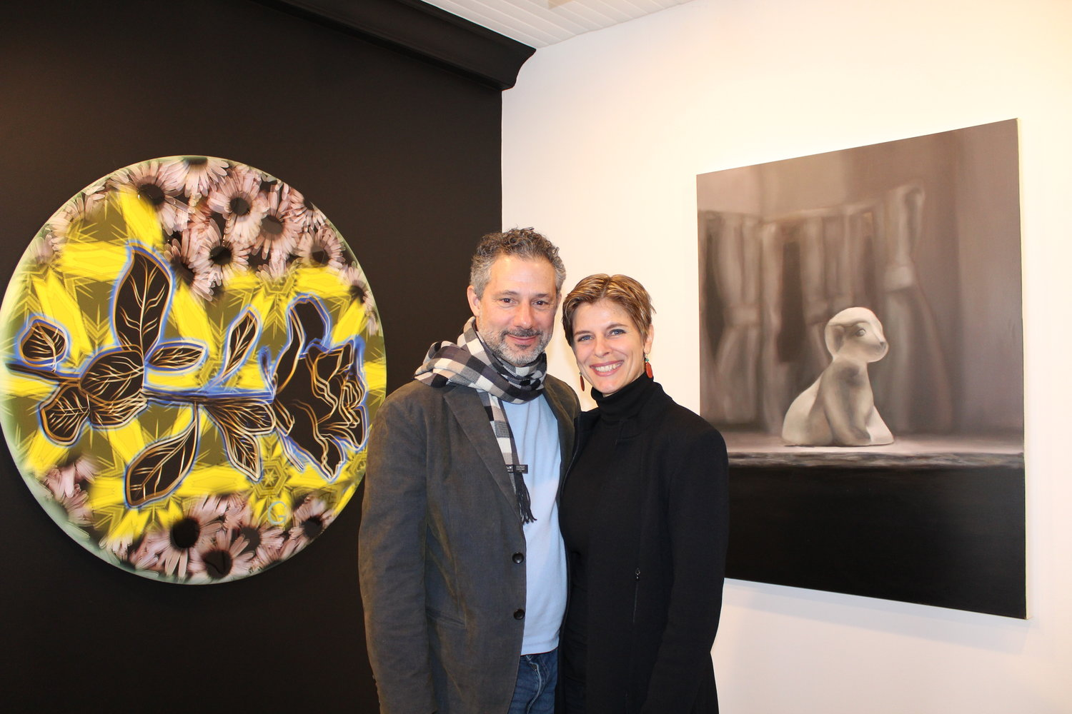 Mark Van Wagner and Tonja Pulfer at their Bellport Village art gallery, Marquis Projects, Inc. They aim to continue exhibiting marginalized and unknown talent of all ages.