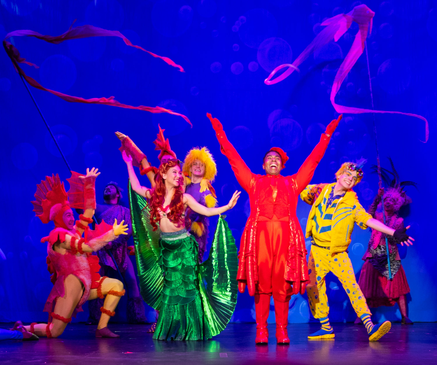 "Babylon's Argyle Theatre production of the Broadway hit, Disney's ""The Little Mermaid,"" is delightfully playful and brilliant. Pictured are Kimberly Immanuel as Ariel, Ryan Gregory Thurman as Sebastian, Matthew Rafanelli as Flounder and cast."