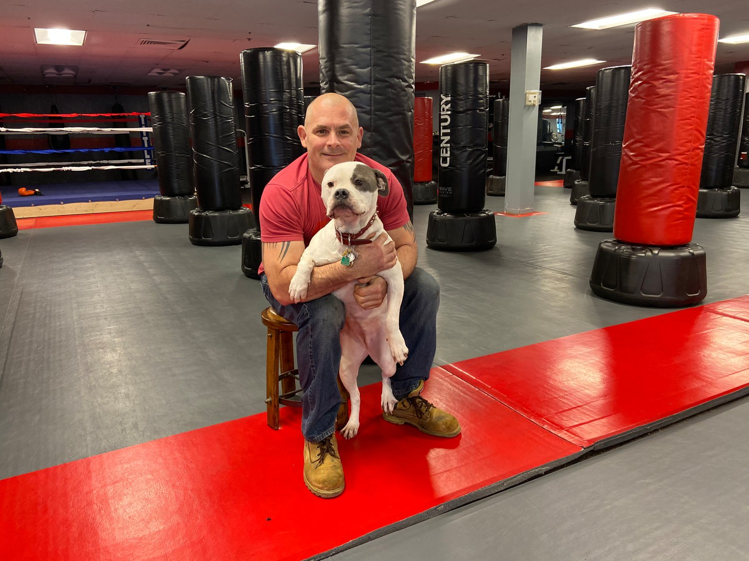KickFit Bohemia is owned by Joe Marcus and his dog Ally, who is also the gym mascot and cardio coach.
