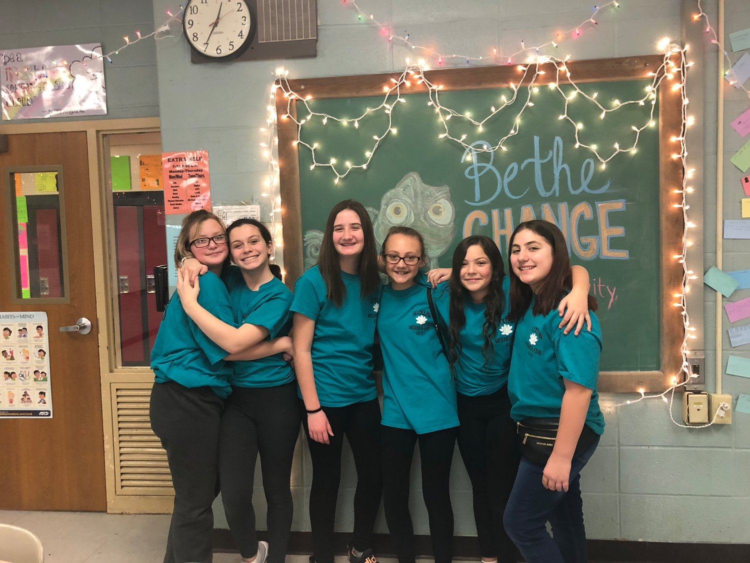 "Wellness Club student members Anna Porcelli, Katarina Curcio, Lilly March, Gabriella Koch, Brittany Santiago and Madison Fiebe-Soto prepare for ""P.S. I Love You Day"" at South Ocean Middle School on Friday, Feb. 14."